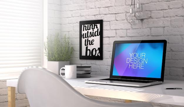 Mockup 3d del computer portatile al tavolo da lavoro dell'ufficio
