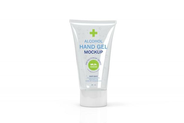 Mockup 3d di un piccolo tubo trasparente per disinfettante per le mani