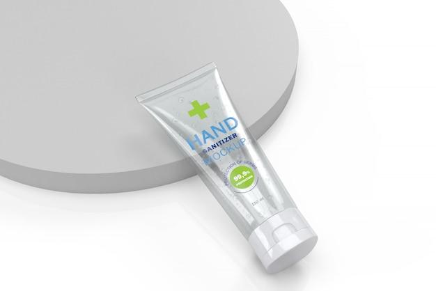 Mockup 3d di tubo trasparente per disinfettante per le mani