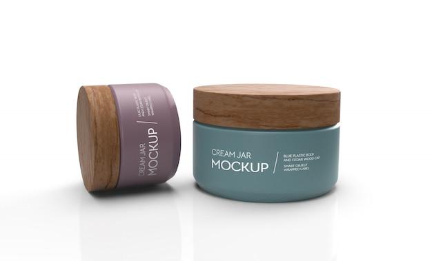 Mockup 3d di due creme barattolo di plastica con tappi in legno
