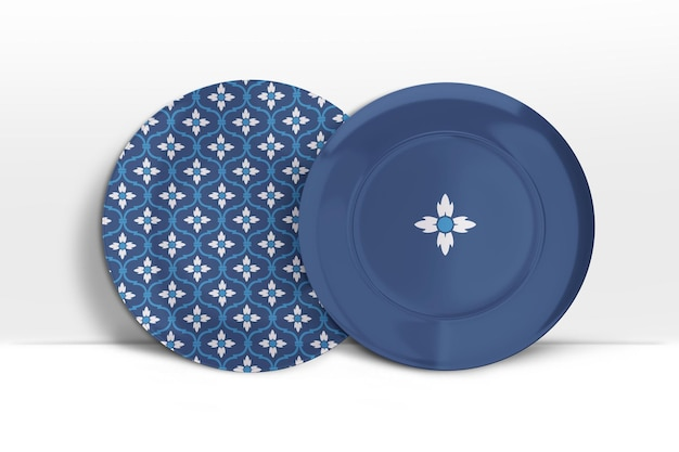 Mockup 3d di due piatti in porcellana in piedi