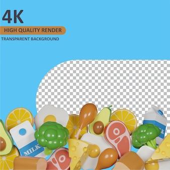Modello 3d che rende pile assortite di cibo