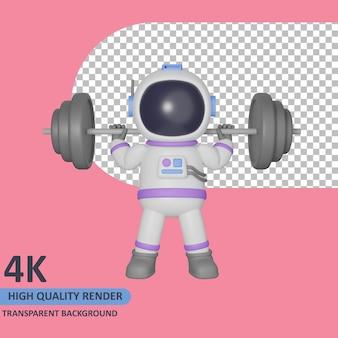 Modello 3d che rende l'astronauta del bambino che fa la vista frontale del sollevamento pesi