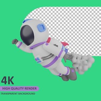 Modello 3d che rende astronauta bambino che vola su un razzo sulla schiena