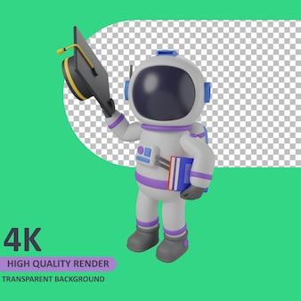 Modello 3d che rende astronauta bambino che tiene un cappello da scapolo e porta un libro