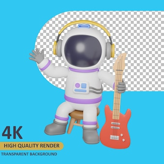 Modello 3d che rende l'astronauta del bambino che tiene la chitarra mentre è seduto