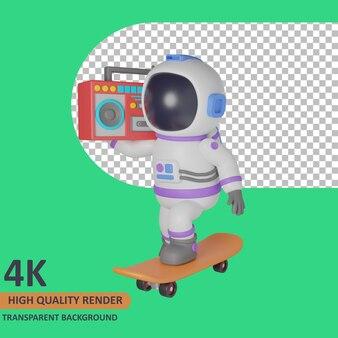 Modello 3d che rende l'astronauta bambino sta facendo skateboard e trasportando il boombox tranquillamente