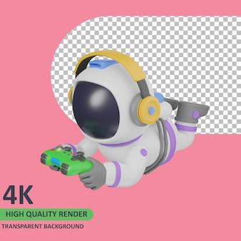 Modello 3d che rende l'astronauta del bambino che gioca mentre dorme