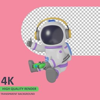 Rendering del modello 3d astronauta bambino che gioca gioco