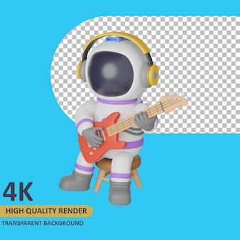 Modello 3d che rende l'astronauta del bambino che suona la chitarra mentre è seduto
