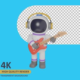 Modello 3d che rende l'astronauta del bambino che suona la chitarra stando in piedi