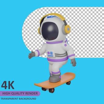 Modello 3d che rende l'astronauta bambino che gioca a skateboard mentre ascolta la musica