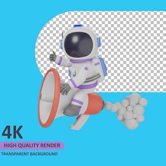 Modello 3d che rende l'astronauta bambino che gioca con l'altoparlante del carico del razzo