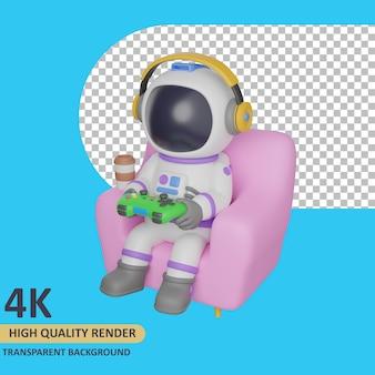 Modello 3d che rende l'astronauta bambino seduto sul divano mentre gioca