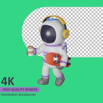 Modello 3d che rende astronauta bambino che cammina mentre ascolta musica e trasporta uno skateboard