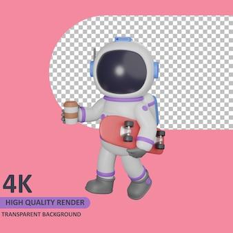 Modello 3d che rende astronauta bambino che cammina con caffè e skateboard