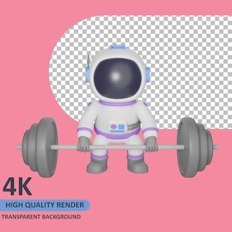 Modello 3d che rende l'astronauta bambino farà sollevamento pesi