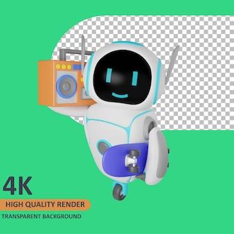 Robot di rendering del modello 3d che trasporta boombox e skateboard