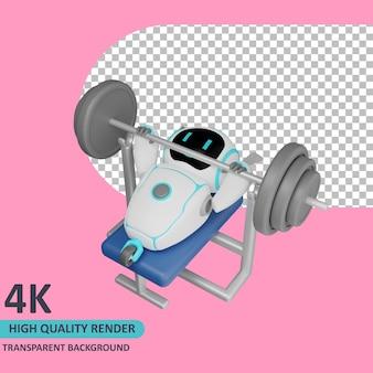 Robot di rendering del modello 3d che fa sollevamento pesi sulla panca pesi