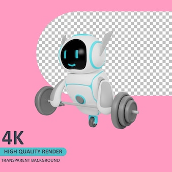 Robot di rendering del modello 3d che fa sollevamento pesi