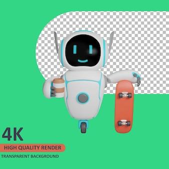 Modello 3d che rende il robot trasporta caffè e tiene in mano uno skateboard
