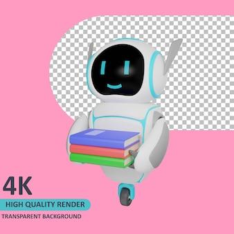 Modello 3d che rende il robot trasporta una pila di libri