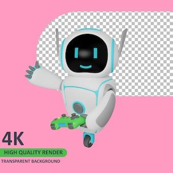 Il modello 3d che rende il robot sta giocando mentre saluta