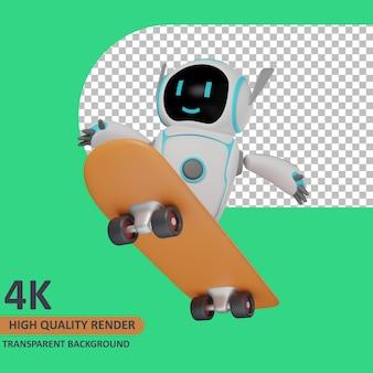 Modello 3d che rende il robot sullo skateboard