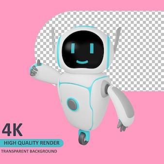 Modello 3d che rende il robot in piedi mentre dà un pollice in su