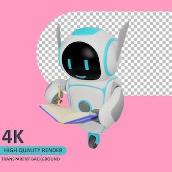 Il modello 3d che rende il robot sta scrivendo sul taccuino
