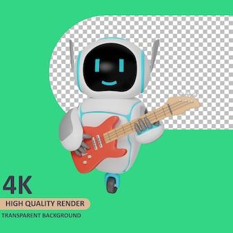 Robot di rendering del modello 3d che suona la chitarra
