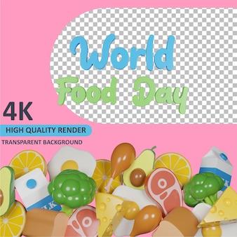 Modello 3d che rende la giornata mondiale dell'alimentazione e pile assortite di cibo