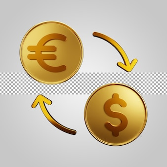 3d cambio valuta euro dollaro con ombra e sfondo trasparente