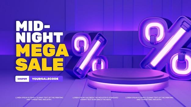 Esposizione del prodotto del podio di sconto della luce al neon 3d
