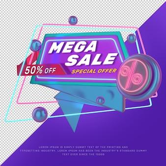 Banner di promozione del titolo di sconto con luce al neon 3d