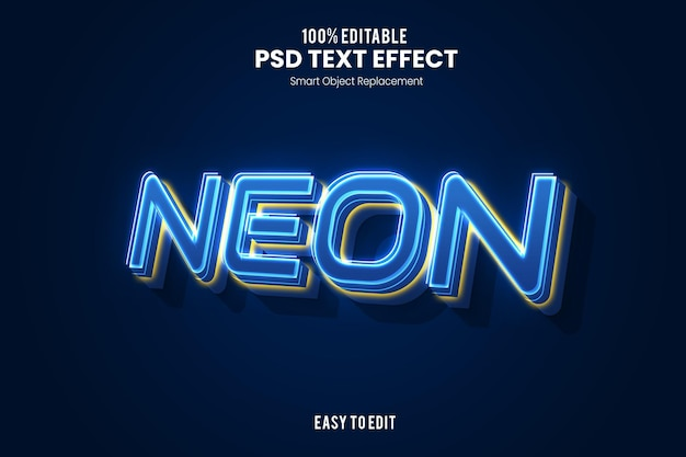 Modello di effetto testo al neon 3d