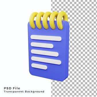 File psd di alta qualità dell'illustrazione dell'icona della nota 3d