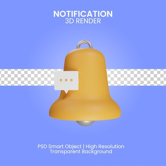 Illustrazione di notifica 3d isolata