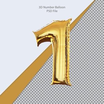 3d numero 1 palloncino dorato