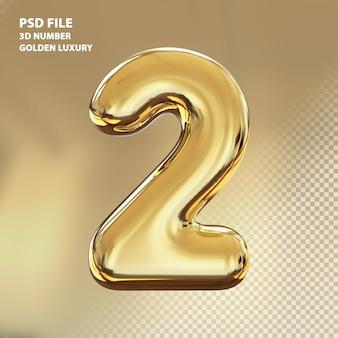 3d numero 2 rendering di lusso dorato