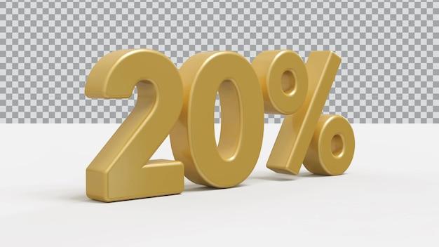Rendering 3d numero 20 percento di lusso dorato