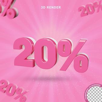 3d numero 20 percento di colore rosa effetto testo moderno