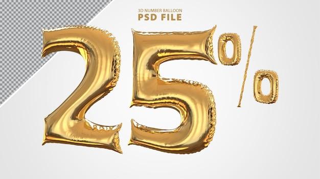 3d numero 25 per cento palloncino dorato Psd Premium