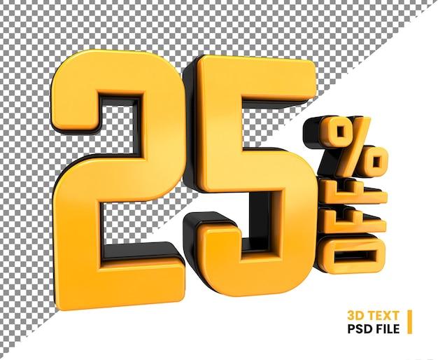 3d numero 25 per cento di sconto