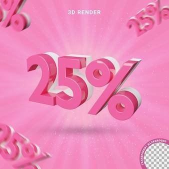 Numero 3d 25 percento colore rosa effetto testo moderno