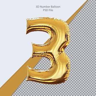 3d numero 3 palloncino dorato