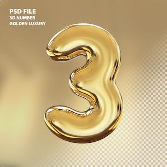 3d numero 3 rendering di lusso dorato