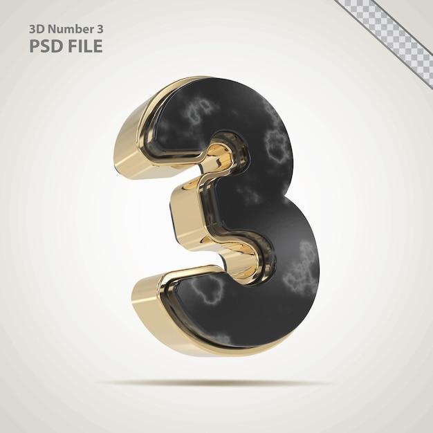 3d numero 3 dorato con stile pietra