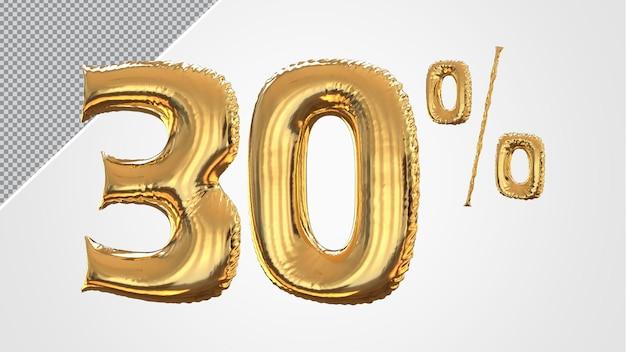 3d numero 30 percento palloncino dorato