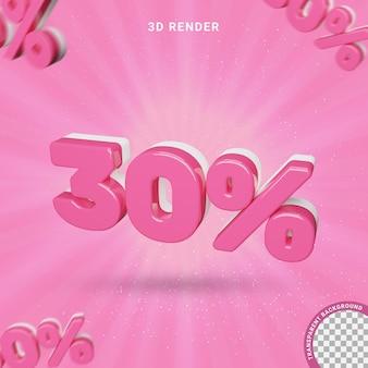3d numero 30 percento di colore rosa effetto testo moderno